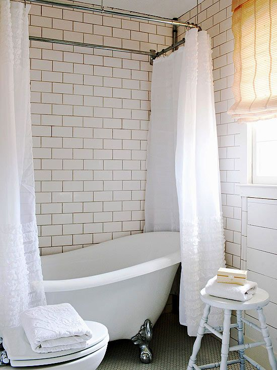we love the charming feel of the subway tile in this allwhite bathroom