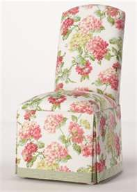 Floral Parson Chair With Skirt And Contrast Banding On Bottom