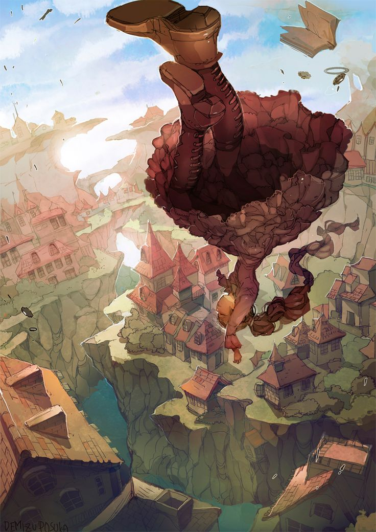 illustration by Demizu Posuka - perspective city sketchy painting girl falling
