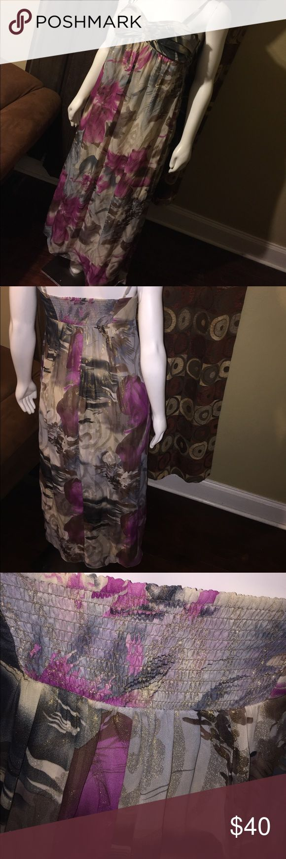 Ladies Evening Gown by Robbie Bee (Macy's) Worn once! Still in perfect condition! Shimmery! Adjustable straps! Lined from top to bottom! Including bra! Women's size 14! Polyester! Signature by Robbie Bee Dresses Maxi