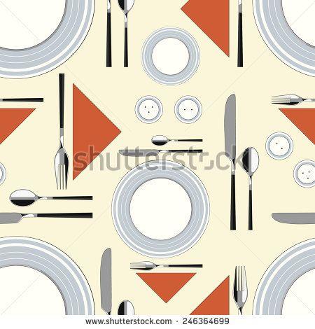 Seamless pattern with served table 2 #vectorpattern #patterndesign #seamlesspattern #kitchen