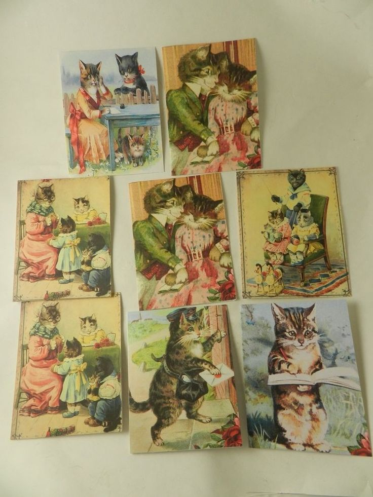 Blank Note Cards   Humorous Vintage Victorian Cats Set 8 Handmade Stationary #Handmade #AnyOccasion