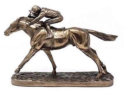 Galoppo Cavallo da Corsa e fantino–Scultura in bronzo cavallo Racing Figurine