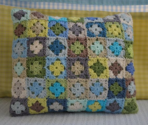 Crochet Cushion  Mini Granny Colourful Hand Made by CrochetObjet