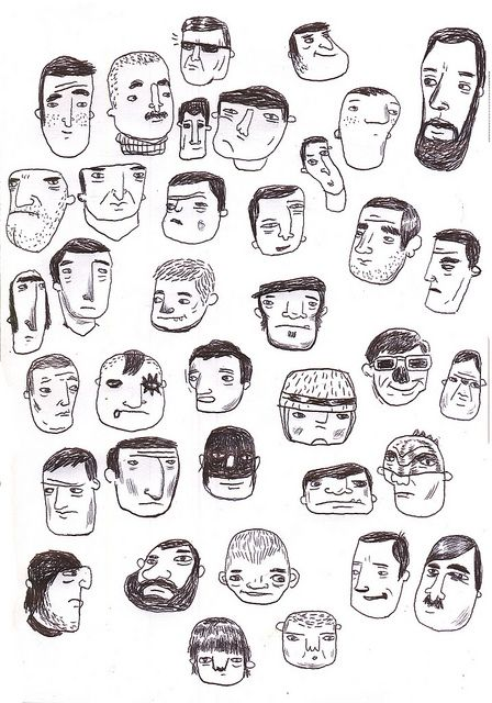 Doodle faces by Matan Liberman #poster #flat #illustration http://www.artcoursework.com/illustration.html