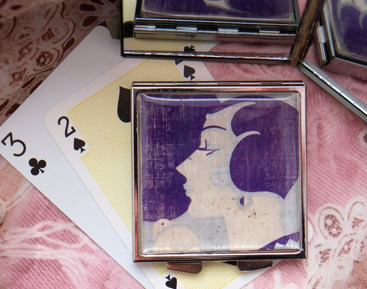 Purple Art Deco Vintage Playing Card, Up-cycled on a Compact Mirror by karenarts on Etsy