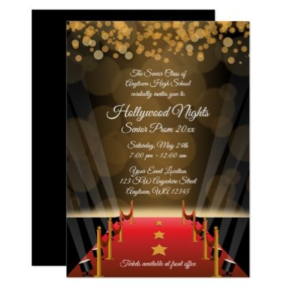 Hollywood Red Carpet Prom Formal Invitations - #customizable create your own personalize diy