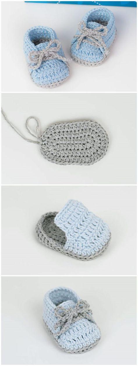 Crochet Baby Sneakers Free Pattern #CrochetBaby