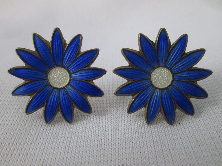 Vintage Anksel Holmsen Norway Sterling Silver & Blue Enamel Screw Earrings Daisy #AnkselHolmsen