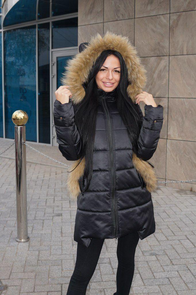 Зимняя куртка пуховик Ушки черный