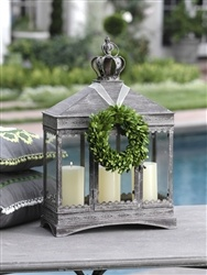 Triple Window Antique Finish Glass and Metal Lantern with Crown Finial: Triple Window, Window Antiques