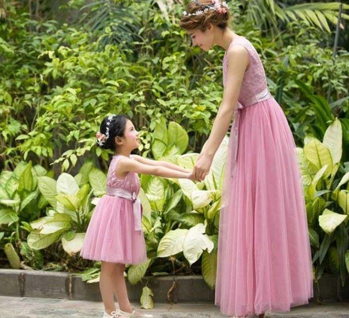 Anne bebek takım elbiseler düğün nişan, kına, özel günler için uzun pembe elbise