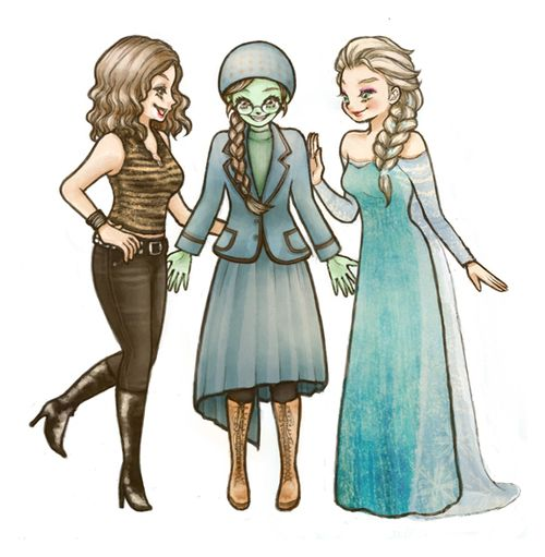 Maureen Johnson, Elphaba Thropp and Elsa Queen of Arendelle......Not sure wich board to put tis in :/