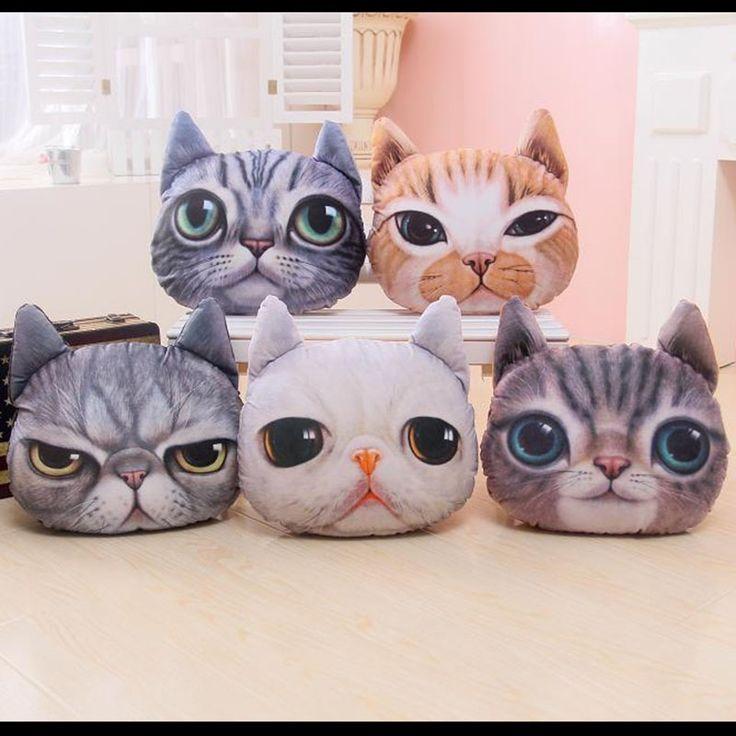 11.90$  Watch here - 40*38cm 3D Cat Plush Pillow Creative Washable Cartoon Cat Nap Cushion Lovely Decorative Simulation Animal Throw Pillows Cat Toy  #aliexpresschina