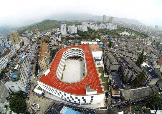 une piste dathlétisme sur le toit de lécole   une piste d athletisme sur le toit d une ecole en chine 1