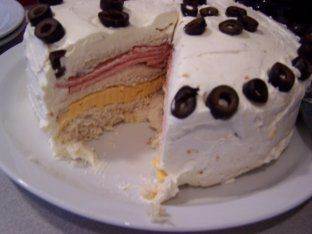 Baloney Cake - here's a pic of this strange appetizer. You know you wanna serve it at the cookie party!!!