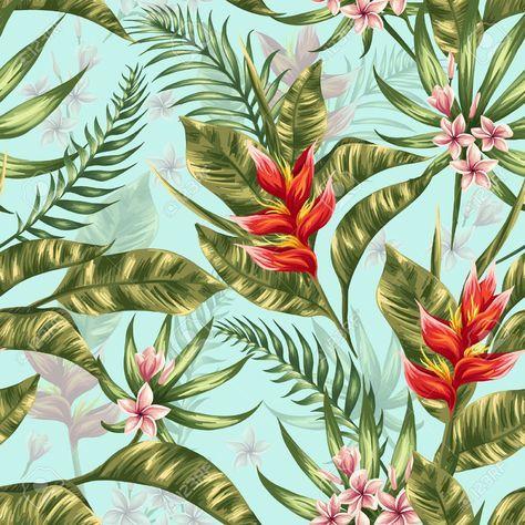 Patrón Sin Fisuras Con Flores Tropicales En Estilo De La Acuarela Ilustraciones Vectoriales, Clip Art Vectorizado Libre De Derechos. Image 39223131.