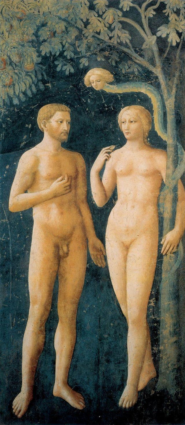 Masolino, adamo ed eva - Капелла Бранкаччи — Википедия. «Грехопадение» (Мазолино).