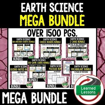 EARTH SCIENCE MEGA BUNDLEEARTH SCIENCE PAGEVISIT MY STORE AND FOLLOW TO GET UPDATES WHEN NEW RESOURCES ARE ADDED  BUNDLE INCLUDES THE FOLLOWING RESOURCES TOPICS COVEREDScientific Inquiry and Basic Science-Anchor Charts (Great as word walls, bulletin boards, and bellringers)-I Have Who Has Game Cards-Puzzles and Vocabulary Matching-I Can Student Self-Assessment of Mastery Charts-Student and Teacher Guided Notes-Choice Board Activities (Paper and Digital Version)-Pennant Word…