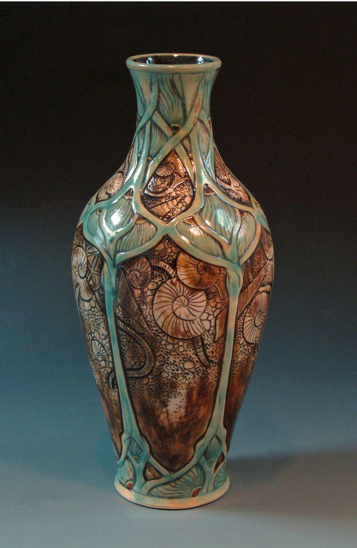 369 best vases images on pinterest art glass sculpture flower calmwater designs stephanie young art nouveau fossil shell vase reviewsmspy