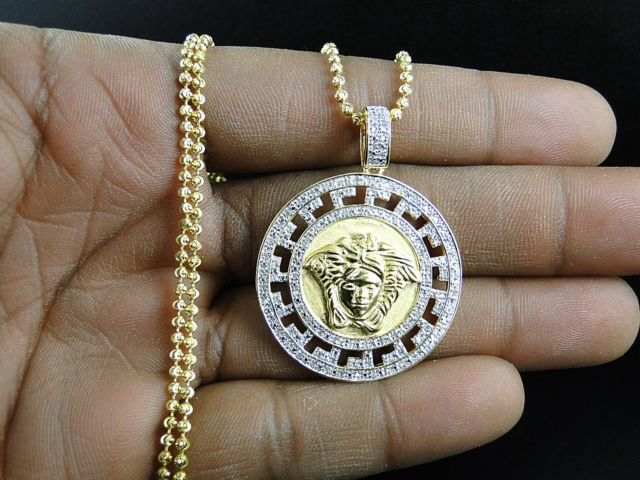 Yellow Gold Finished 50ct Real Diamond Medusa Head
