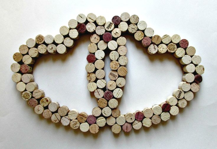 Wine Cork Heart Wall Decor - Two Intertwined Hearts. $35.00, via Etsy.