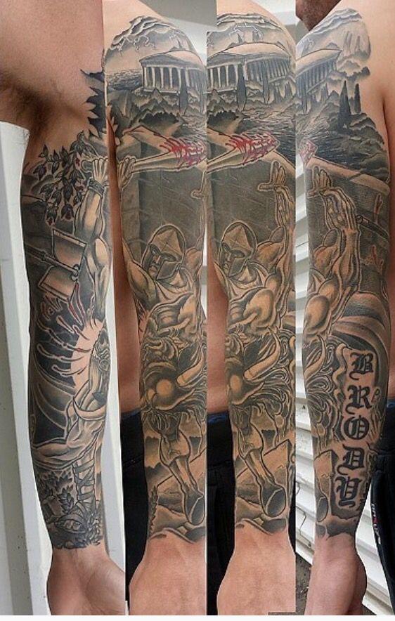 Theseus and Minotaur battle sleeve. Black and grey shade sleeve tattoo. Edmonton tattoo artist