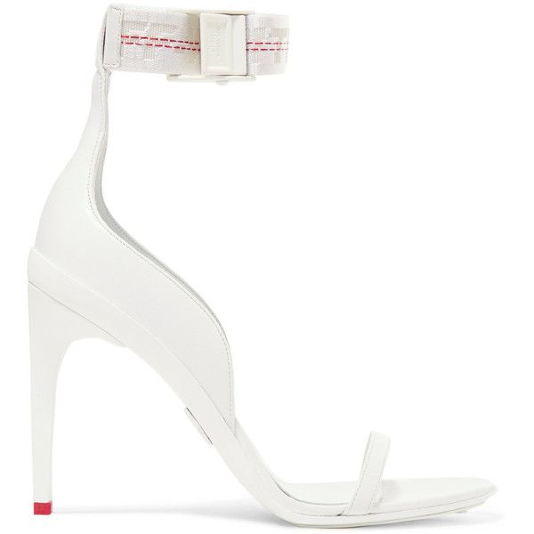 Off-White Industrial leather sandals ($1,190) ❤ liked on Polyvore featuring shoes, sandals, white, high heel shoes, white sandals, leather shoes, strap sandals and strappy leather sandals