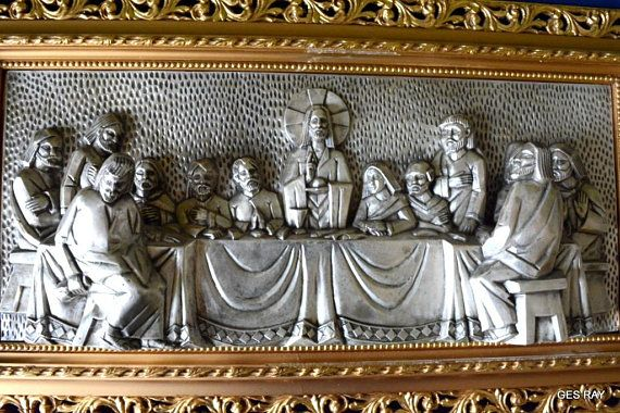 Art Deco Contemporary Last Supper Wall Sculpture Metal Art Small Framed Art Metal Wall Sculpture Last Supper