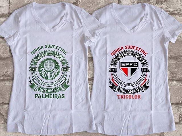 Babylook ou camiseta para as torcedoras do Palmeiras e São Paulo demostrar  sua paixão pelo clube 082a58daa9afa
