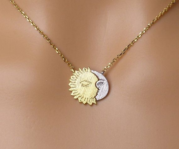 Sun and Moon necklace,Dainty Necklace,Gift ideas, crescent moon necklace, sun necklace, moon jewelry, celestial