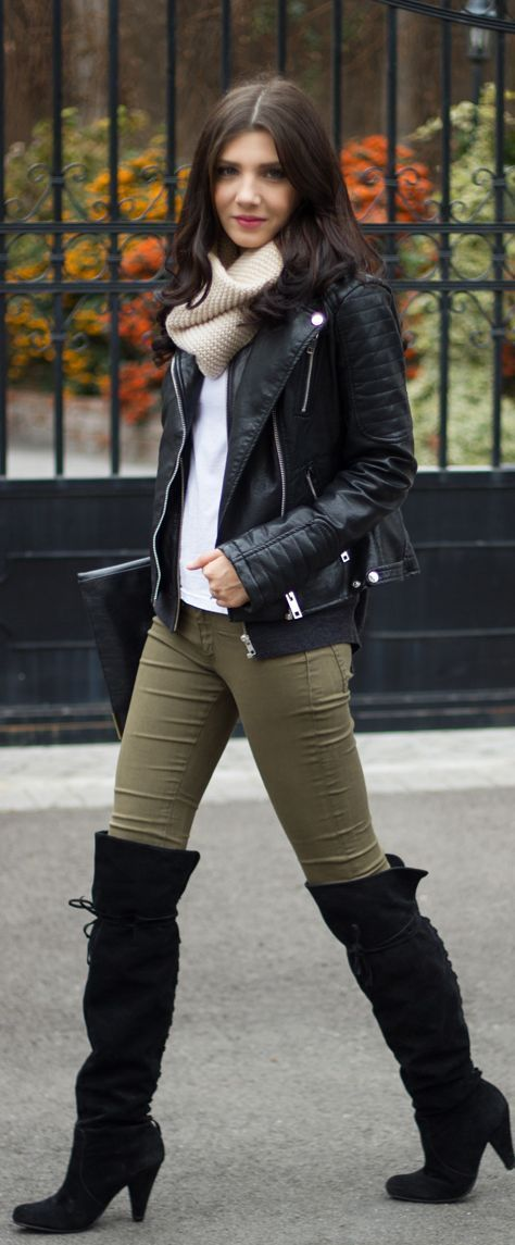 Turtle neck cream sweater with leather jacket and over the knee boots