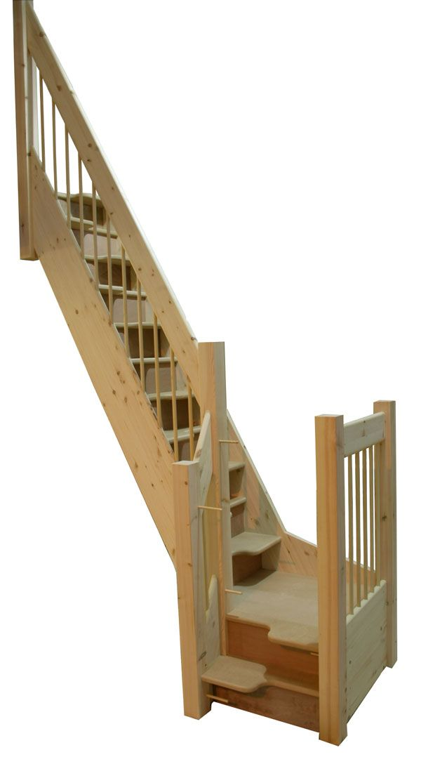 "Space-saving alternating tread staircase I love these....there are usually the same number of ""half treads"" as there are full width treads in a standard staircase, so you don't have to step up so high and steeply as other small house stairs"