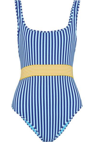 Diane von Furstenberg - Belted Striped Swimsuit - Azure