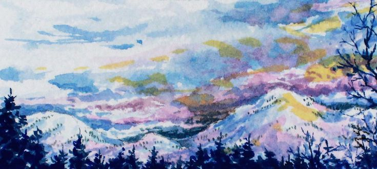 "Early Light. 1.5"" x 3.25"", Watercolour,matted, including shipping,  The breaking of another winter day."