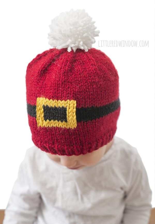 a0c0d19ca Santa Suit Hat Knitting Pattern for newborns, babies and toddlers! |  littleredwindow.com