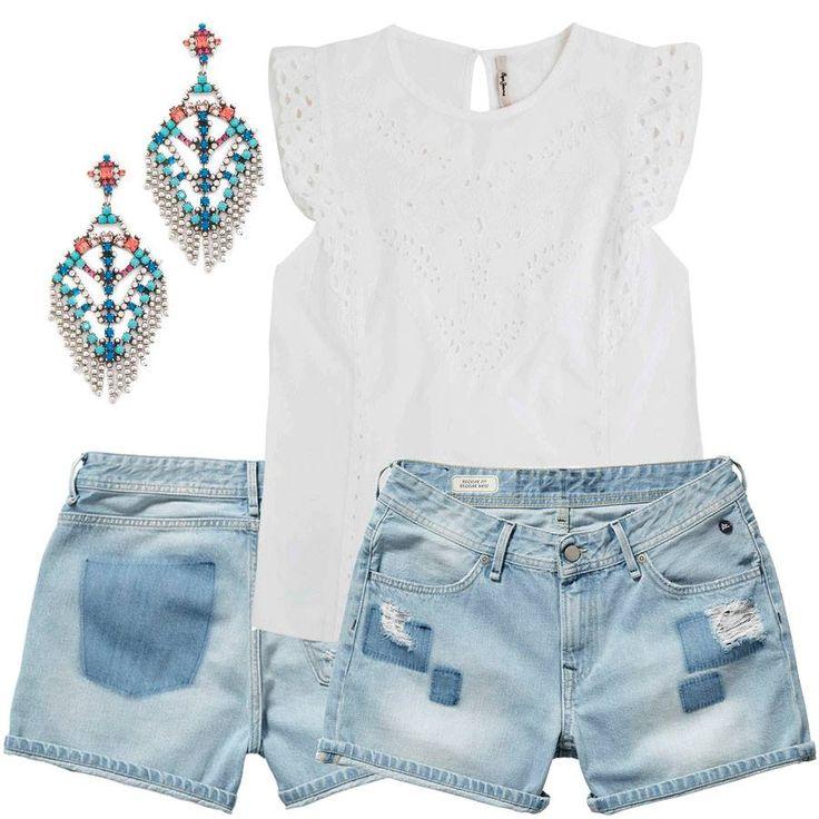 Блуза из тончайшего перфорированного хлопка и винтажные шорты с ассиметричной контрастной варкой с эффектом заплаток помогут создать модный стиль бохо. А цена вас приятно удивит. Детали в JiST или http://jist.ua/. #мода #стиль #тренды #джинсы #модно #стильно