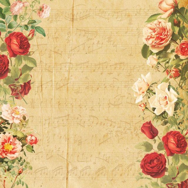 Background Vintage Floral Floral Rose Paper Music Red Rose Retroflowers Plant Mat Vintage Floral Backgrounds Floral Wreath Watercolor Vintage Floral Wallpapers