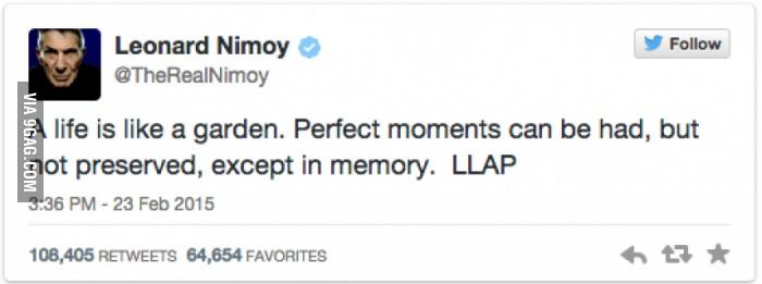 Leonard Nimoy's Final Tweet, RIP Captain Spock