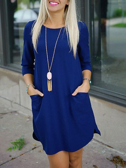 blue dresses, pocket dresses, shift dress, trendy dress, half sleeve dress - Lyfie