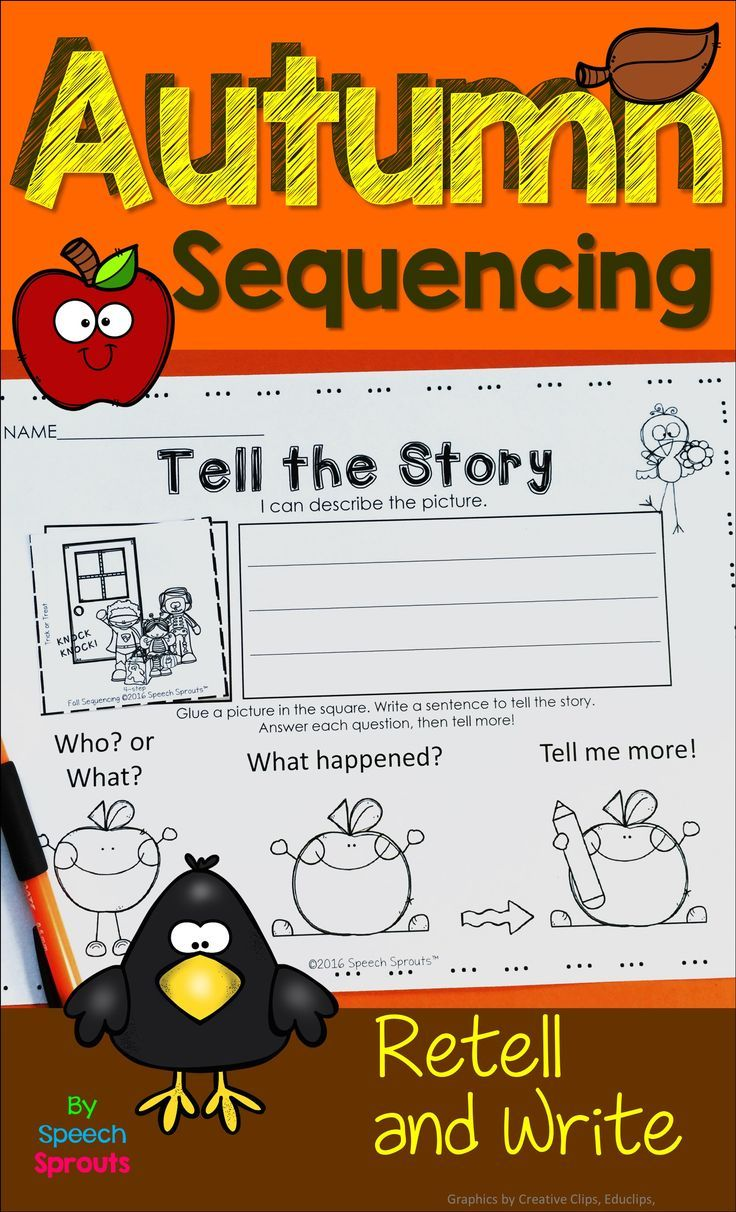 Differentiated Fall Sequencing Activities for PK-2nd. Autumn fun with sequencing puzzles, picture cards and printables for three step and four step picture sequences. Address multiple language skills including describing, narratives, prediction, sentence construction, and writing simple sentences in speech therapy or classroom centers.
