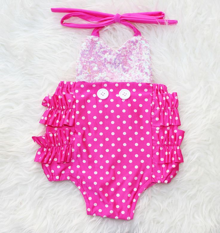 Minnie Mouse Hot Pink Sparkle Romper with Buttons Baby Halloween Costume #BelleThreadsPinterest
