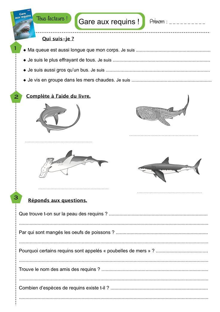 """Fiche de questions """"Gare aux requins ! """" Tous lecteurs ..."""