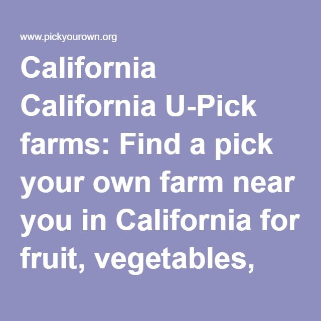 California California U-Pick farms: Find a pick your own farm near you in California for fruit, vegetables, pumpkins, organic foods,local produce and more!