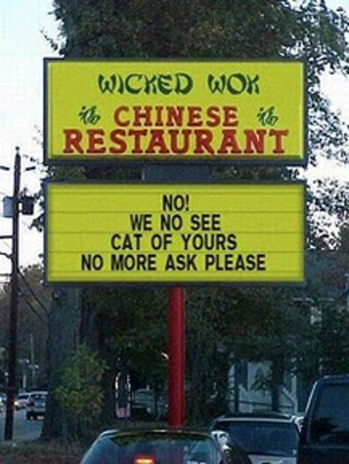 We No See Your Cat, Funny Chinese Restaurant Sign