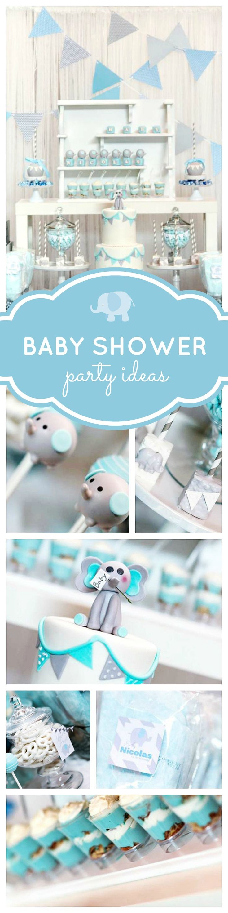 You won't want to miss this adorable blue elephant baby shower for little boys. The elephant cake pops are just too cute! See more party ideas at CatchMyParty.com