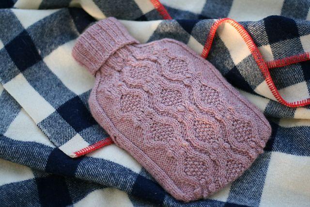 Haworth  hot water bottle cover. Free pattern by  Julie Zaichuk-Ryan