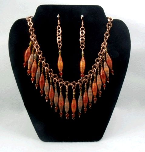 Red/Orange Multicolor Paper Bead Necklace Set | BritLivie-Handcrafted-Jewels - Jewelry on ArtFire
