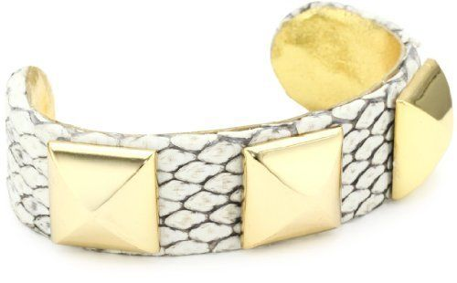 """Ted Rossi """"Sorbet Shine"""" Python and Pyramid Cuff Bracelet Ted Rossi. $140.00. Item is handmade and slight variances may occur. Genuine python skin bracelet fused with gold-plated pyramids. Made in USA. Adjustable brass base ensures a one size fits most"""