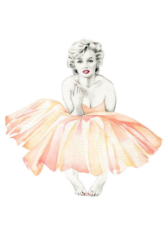 Marilyn Monroe Ballerina PRINT of original watercolor painting by Katrina Pete.  | First pinned to Celebrity Art board here... http://www.pinterest.com/fairbanksgrafix/celebrity-art/ #Drawing #Art #CelebrityArt